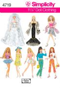 "4719 Simplicity Pattern: Doll Clothes for 30cm (11 1/2"") Fashion Dolls"